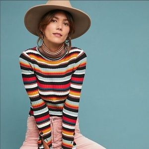 Moth By Anthro Fawcett Striped Multi-color Top